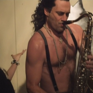 Jon Hamm shirtless sax