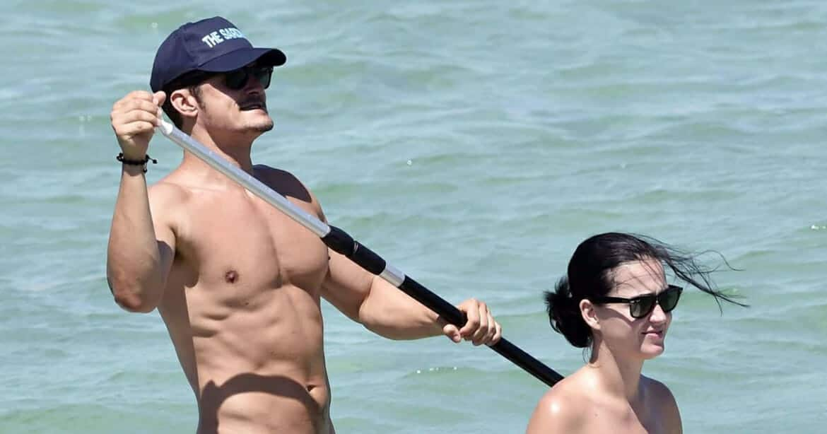 Orlando Bloom paddleboarding with Katy Perry
