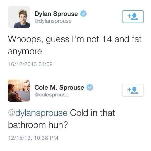 Cole Sprouse tweet about Dylan Sprout naked pics
