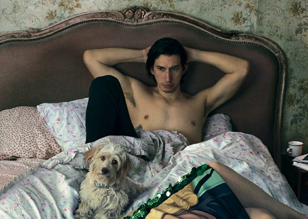 Adam Driver stripped down in bed