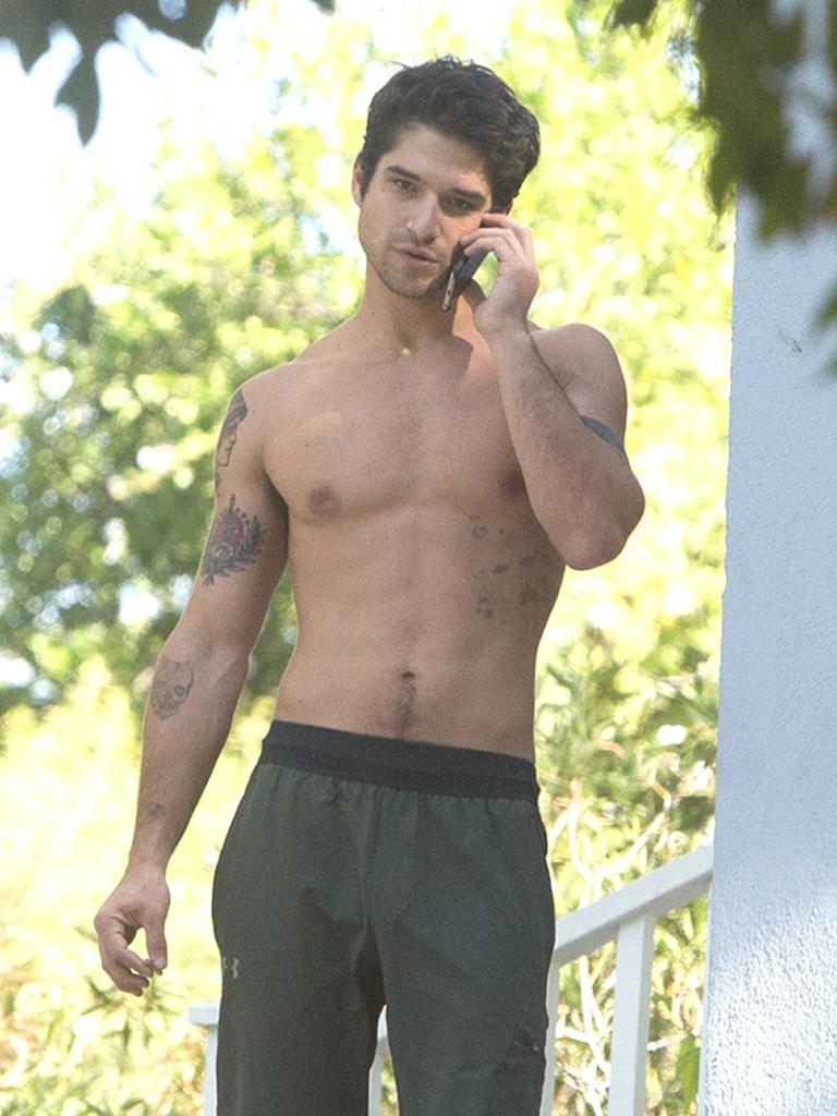 Tyler Posey bulge shirtless smoking